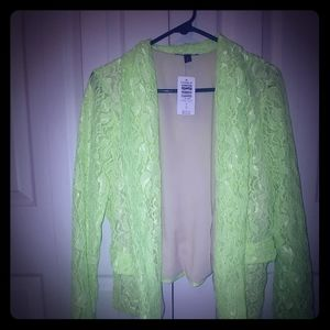 Lime green lace blazer